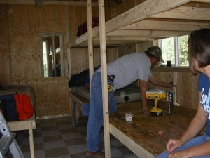Building the bunks in the bunkhouse