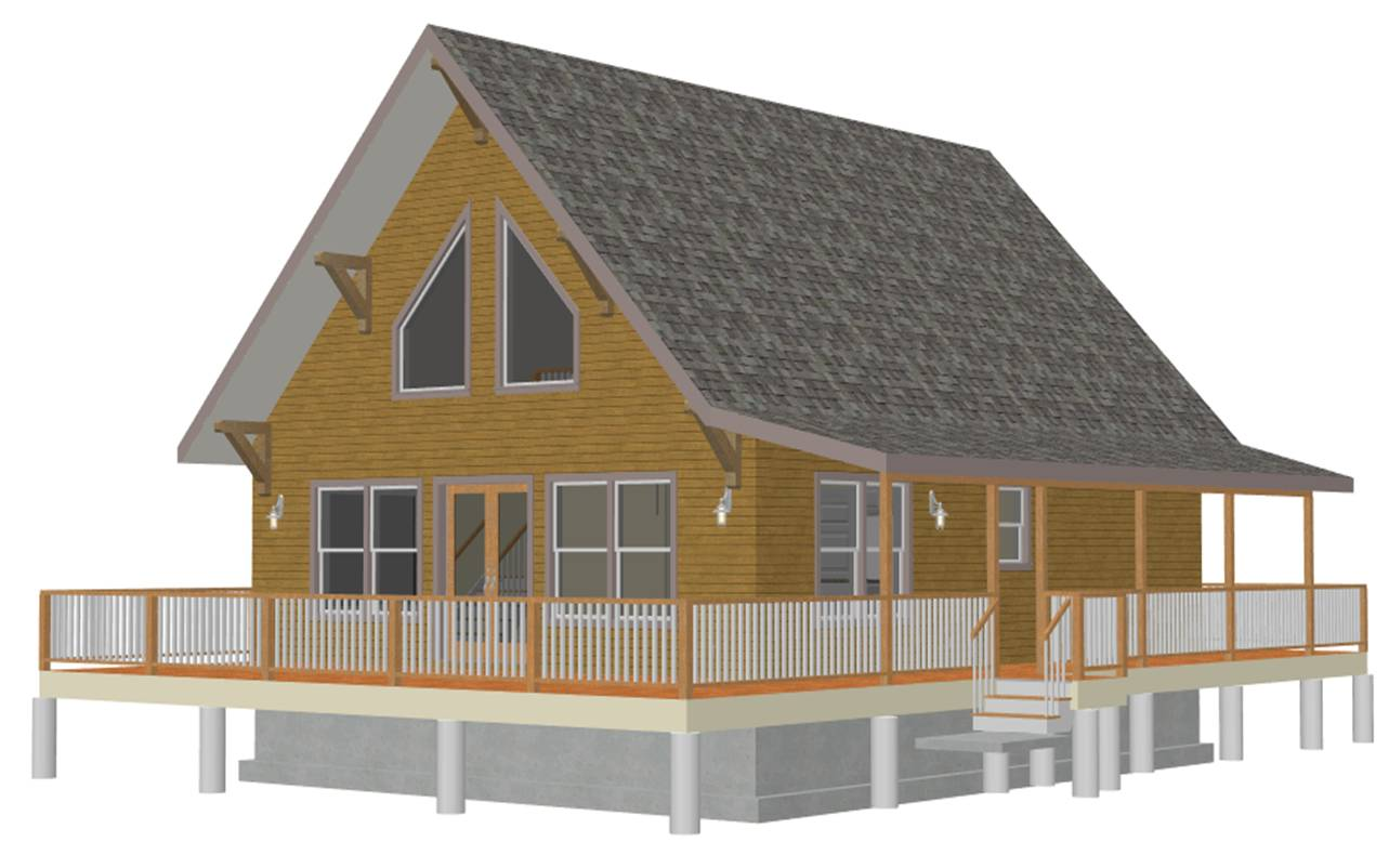 Cabin plan with a loft bunkhouse plans for Beach cabin designs